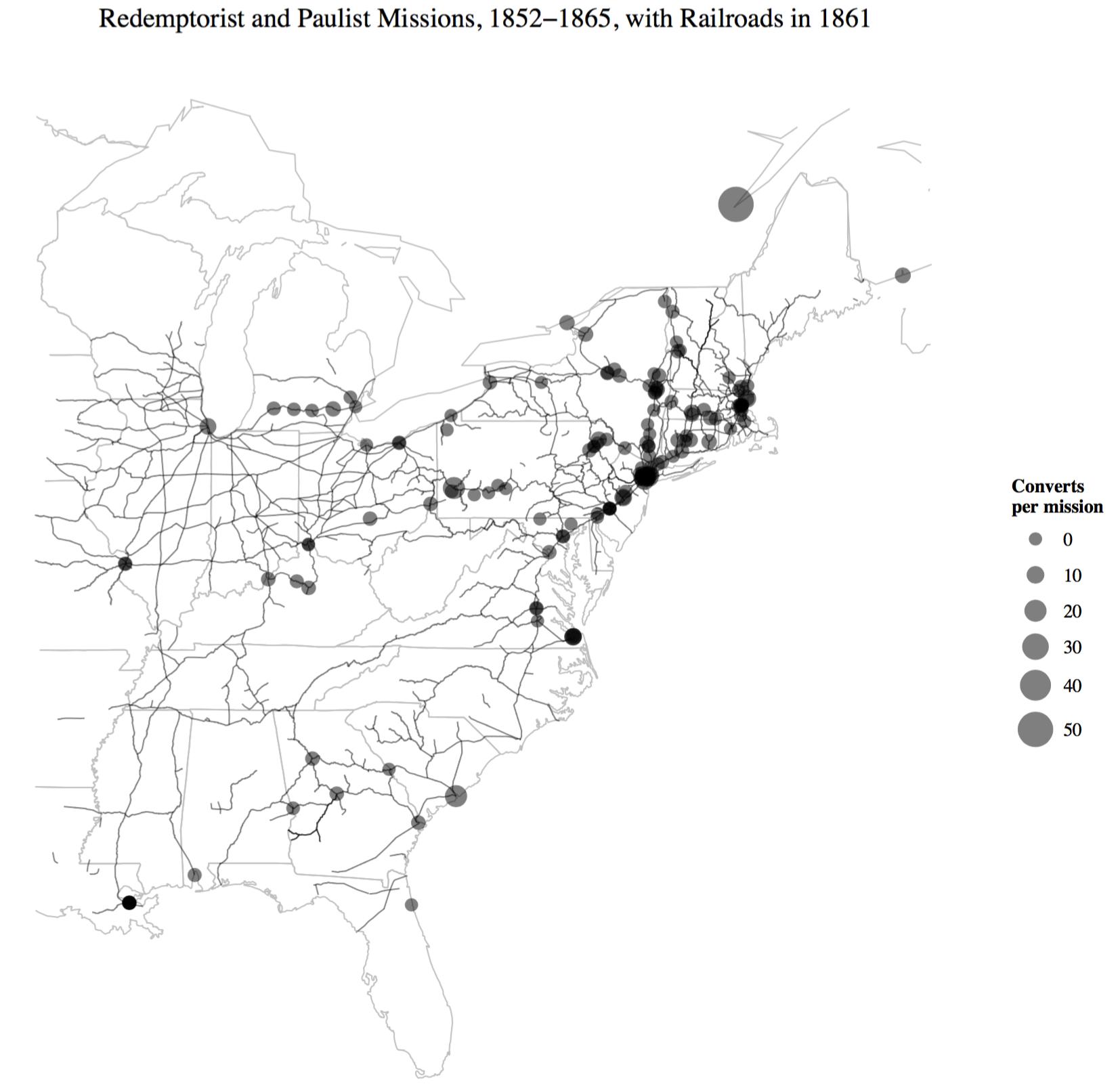 Redemptorist and Paulist missions from 1852 to 1865. Note that there are three kinds of spatial data in this map: the transcribed missions data with city locations, the historical state boundaries, and the railroad network.
